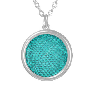 Reptile Turquoise Blue Silver Plated Necklace