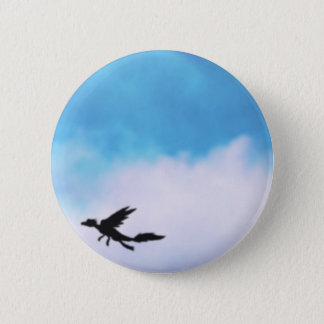 Reptilian Bird Dragon and Clouds Fantasy Art 2 Inch Round Button