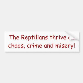 """""""Reptilians Thrive"""" Bumper Sticker 2"""