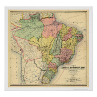 Republic of Brazil Map 1892 Poster
