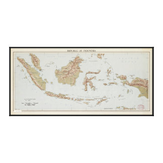 Republic of Indonesia Map (1957) Canvas Print