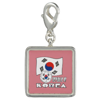 Republic of Korea (South) Soccer Ball and Flag Photo Charms