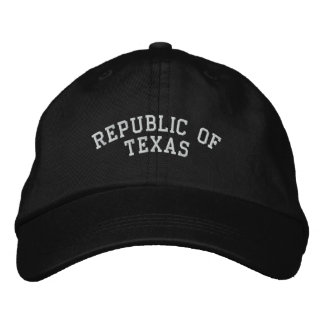 Republic of Texas Embroidered Adjustable Cap Black Embroidered Hats