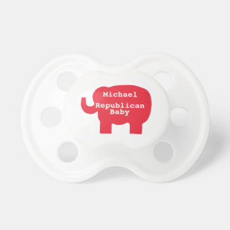 Republican Baby Red Elephant Name Personalized Pacifier