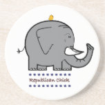 republican chick drink coaster