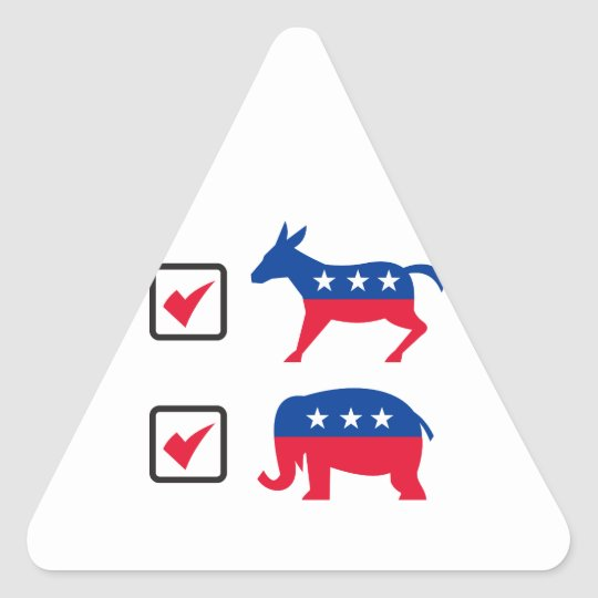 Republican Elephant Democrat Donkey Election Ballo Triangle Sticker