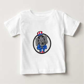 Republican Elephant Mascot Arms Crossed Circle Car Baby T-Shirt