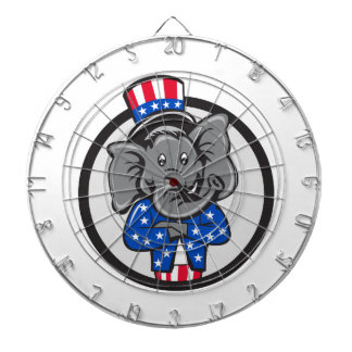 Republican Elephant Mascot Arms Crossed Circle Car Dartboard
