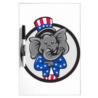 Republican Elephant Mascot Arms Crossed Circle Car Dry Erase Board