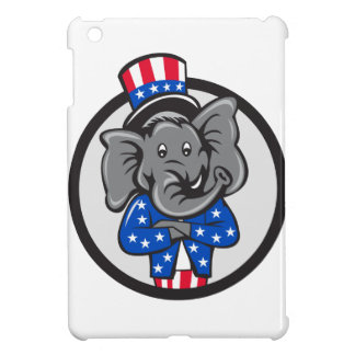 Republican Elephant Mascot Arms Crossed Circle Car iPad Mini Cases