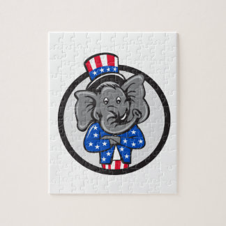 Republican Elephant Mascot Arms Crossed Circle Car Jigsaw Puzzle