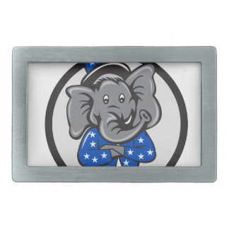 Republican Elephant Mascot Arms Crossed Circle Car Rectangular Belt Buckles