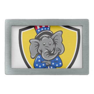 Republican Elephant Mascot Arms Crossed Shield Car Rectangular Belt Buckle