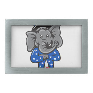 Republican Elephant Mascot Arms Crossed Standing C Belt Buckle