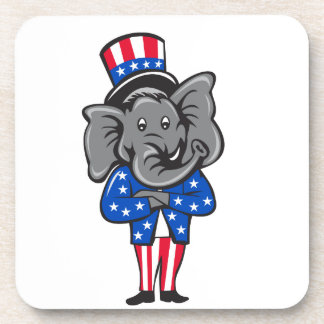 Republican Elephant Mascot Arms Crossed Standing C Coaster