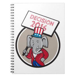 Republican Elephant Mascot Decision 2016 Circle Ca Spiral Notebook