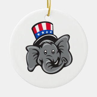 Republican Elephant Mascot Head Top Hat Cartoon Ceramic Ornament