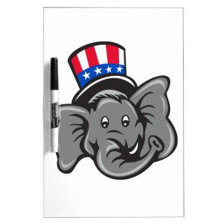 Republican Elephant Mascot Head Top Hat Cartoon Dry Erase Board