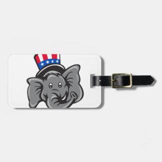 Republican Elephant Mascot Head Top Hat Cartoon Luggage Tag