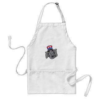 Republican Elephant Mascot Head Top Hat Cartoon Standard Apron