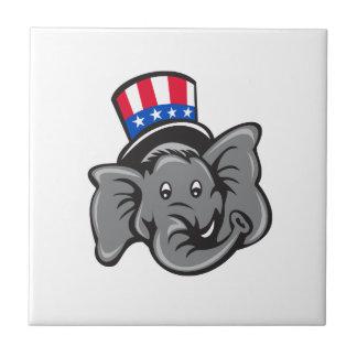 Republican Elephant Mascot Head Top Hat Cartoon Tile