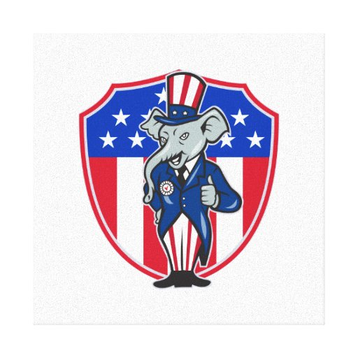 Republican Elephant Mascot Thumbs Up USA Flag Gallery Wrapped Canvas