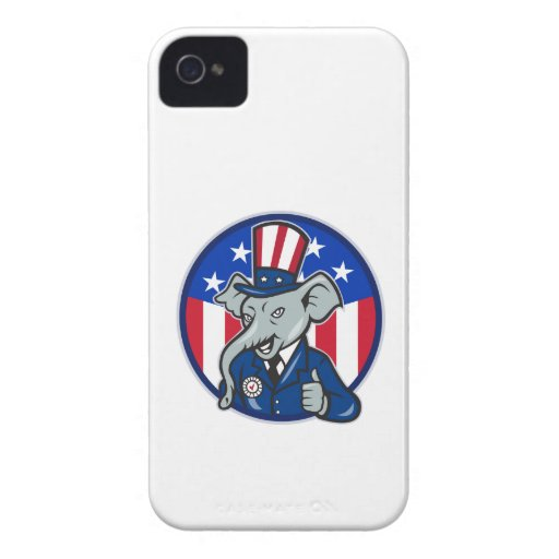 Republican Elephant Mascot Thumbs Up USA Flag iPhone 4 Covers