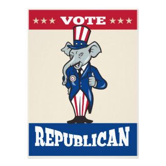 Republican Elephant Mascot Thumbs Up USA Flag Custom Invitation