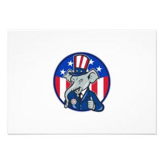 Republican Elephant Mascot Thumbs Up USA Flag Invite