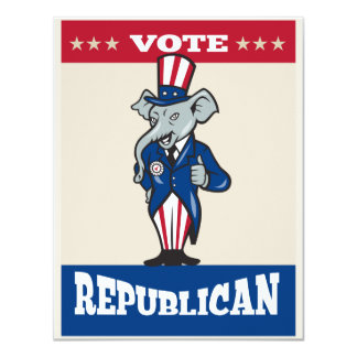 Republican Elephant Mascot Thumbs Up USA Flag Personalized Invitation