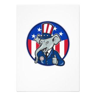 Republican Elephant Mascot Thumbs Up USA Flag Custom Announcements