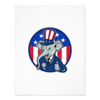 Republican Elephant Mascot Thumbs Up USA Flag Announcements