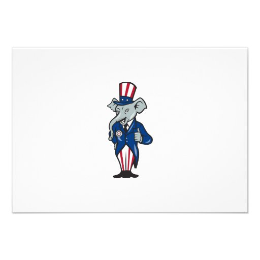 Republican Elephant Mascot Thumbs Up USA Flag Personalized Announcement