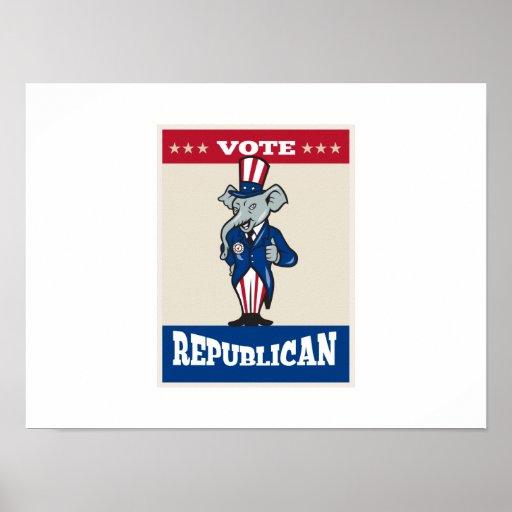 Republican Elephant Mascot Thumbs Up USA Flag Print