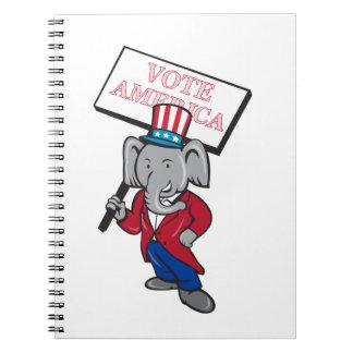 Republican Elephant Mascot Vote America Cartoon Spiral Note Book