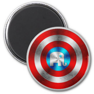 Republican Elephant Metal Shield 2 Inch Round Magnet