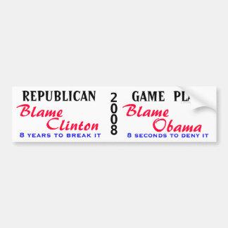 REPUBLICAN, GAME  PLAN (wht) Bumper Sticker
