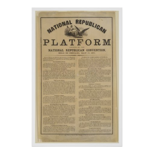 Republican National Convention Platform 1860 Print