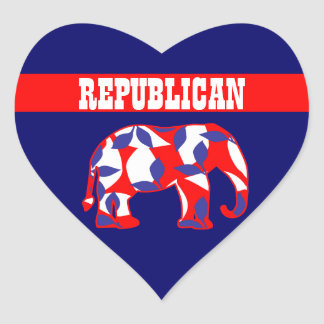 Republican party elephant mascot CUSTOMIZE Heart Sticker