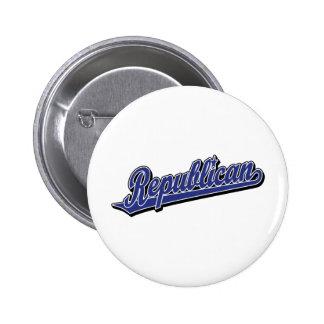 Republican Script Logo Deluxe Blue 2 Inch Round Button