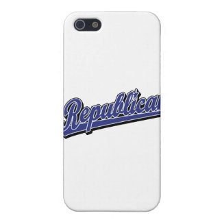 Republican Script Logo Deluxe Blue Cover For iPhone 5