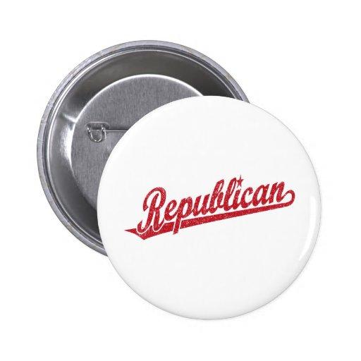 Republican Script Logo Distressed Pinback Button