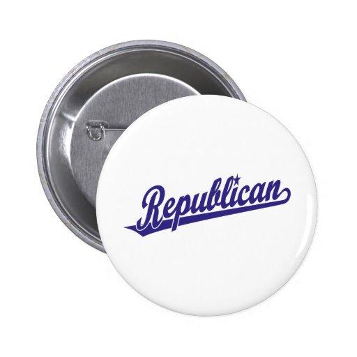 Republican Script Logo Simple Blue Pinback Buttons
