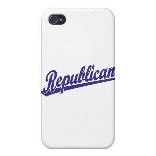 Republican Script Logo Simple Blue iPhone 4/4S Cover