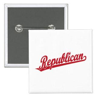 Republican Script Logo Simple Red 2 Inch Square Button