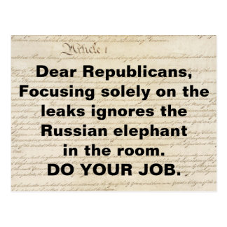 Republicans Russian Elephant in the Room Postcard