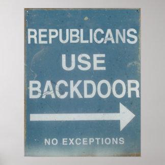 Republicans Use Backdoor Poster
