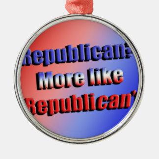 Republicant Silver-Colored Round Ornament