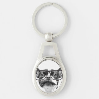 Reputable French Bulldog with Glasses Silver-Colored Oval Keychain