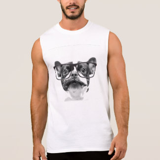 Reputable French Bulldog with Glasses Sleeveless Shirt